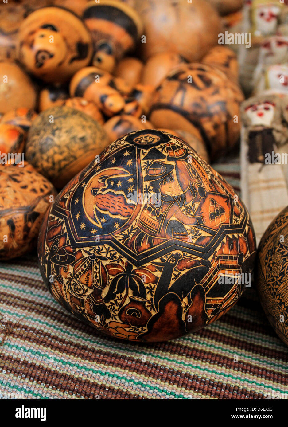 Carvings in Otavalo market, Ecuador - Stock Image