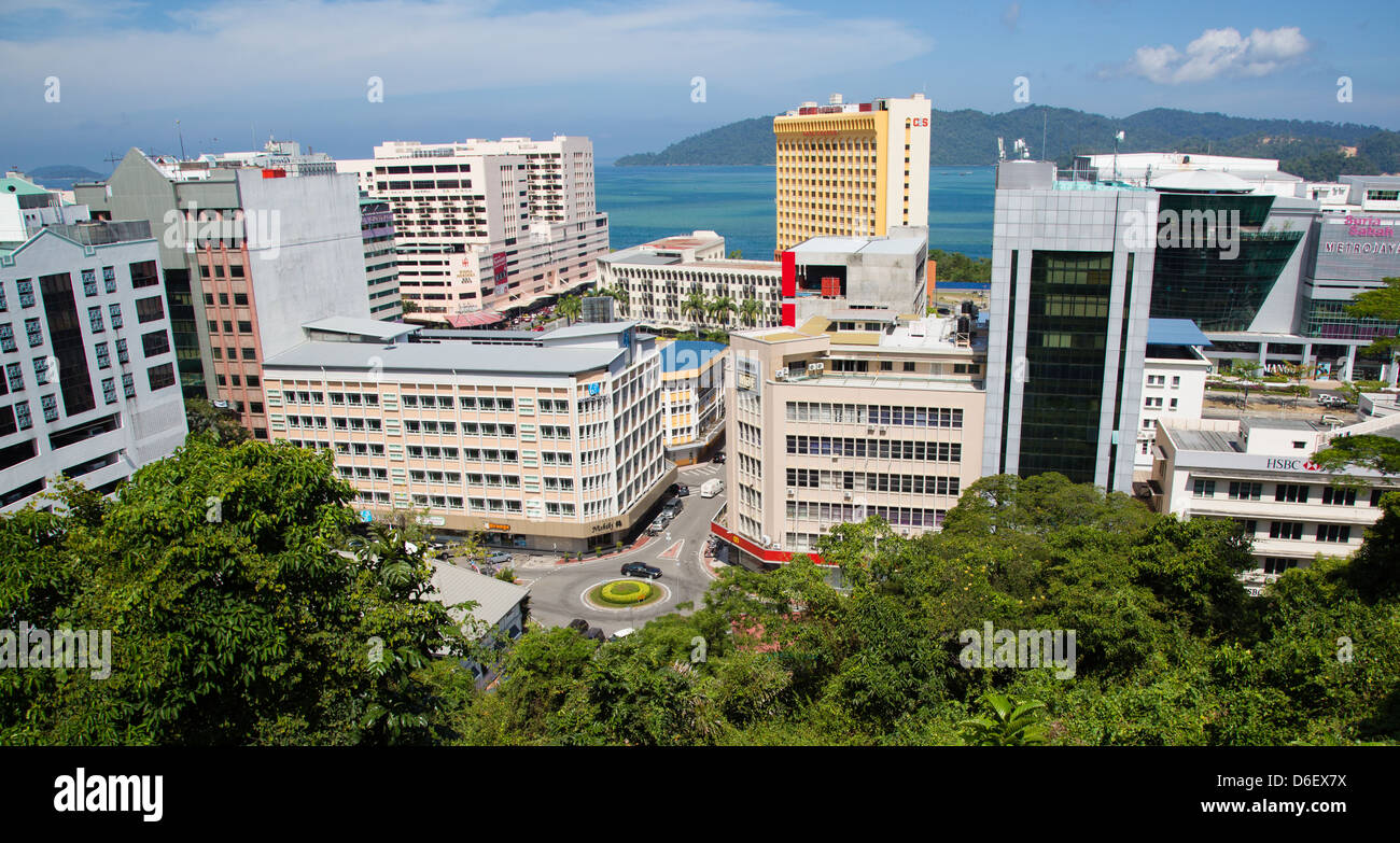 Looking out from Signal Hill over the Malaysian city of Kota Kinabalu in Borneo - Stock Image