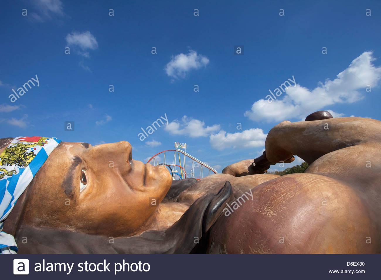 Giant American Indian figure Oktoberfest Munich Germany - Stock Image