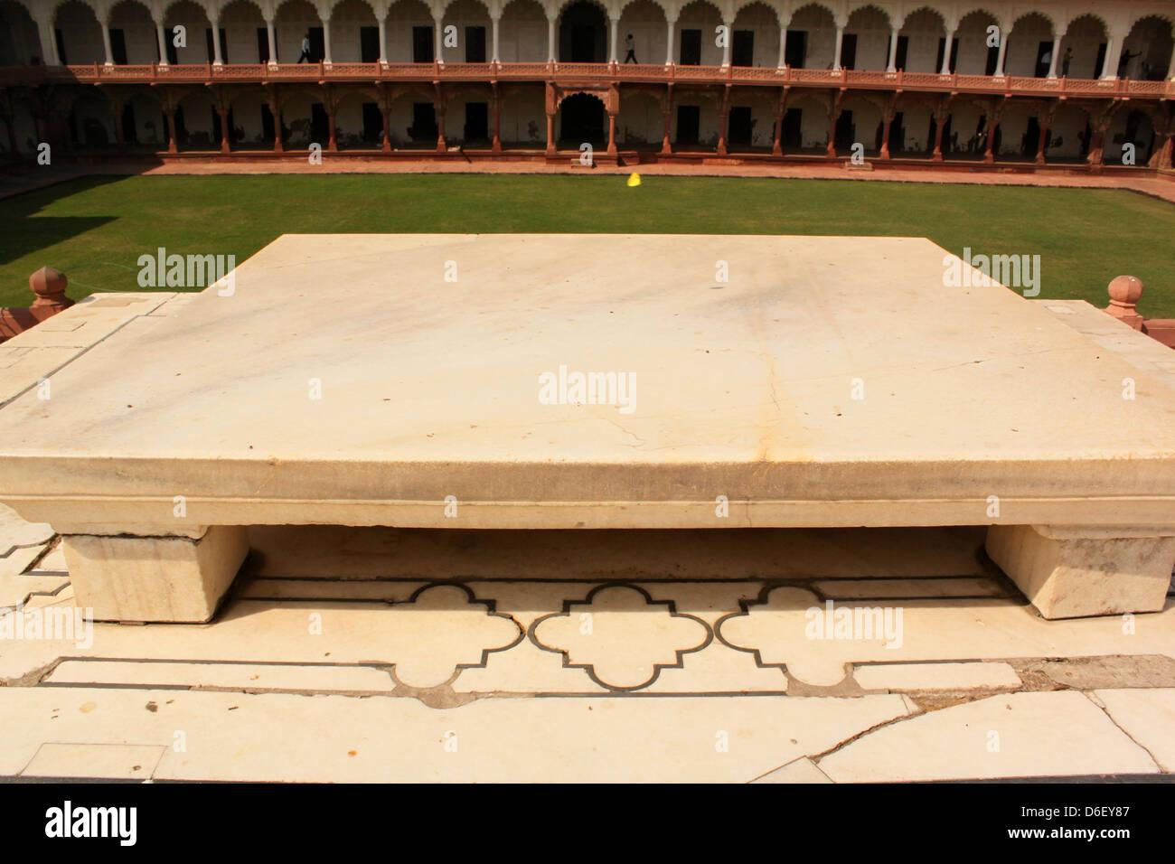 Shah Jahan 's throne Agra Fort  UNESCO World Heritage site Agra, Uttar Pradesh, India Stock Photo