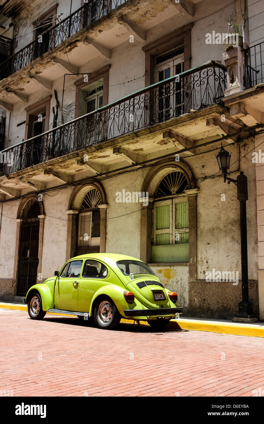 Classic VW Beetle in Casco Viejo Panama City - Stock Image