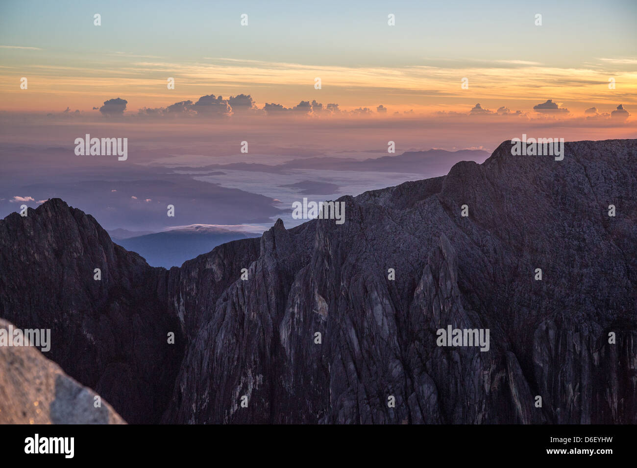 Dawn over Low's Gully a vast shadowy chasm in the flanks of Gunung Kinabalu Sabah Borneo seen from the Low's - Stock Image