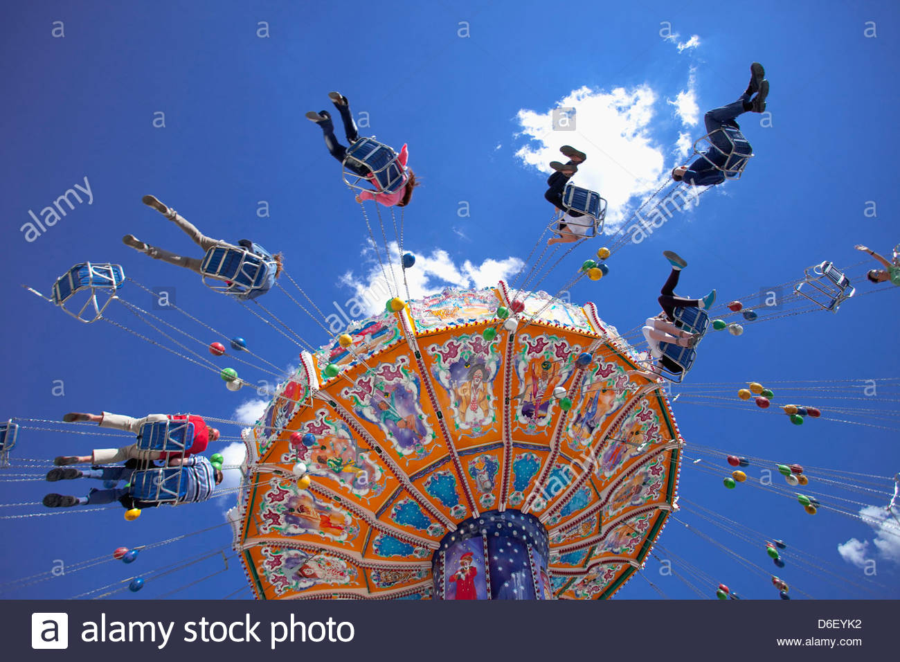 Oktoberfest carousel Merry go round Munich Germany - Stock Image