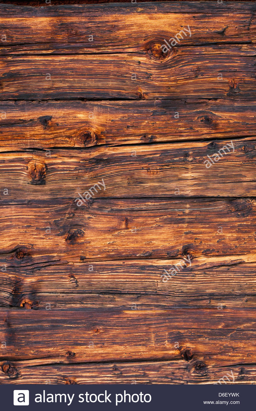 Log Cabin chalet detail Austria wooden wall planks - Stock Image