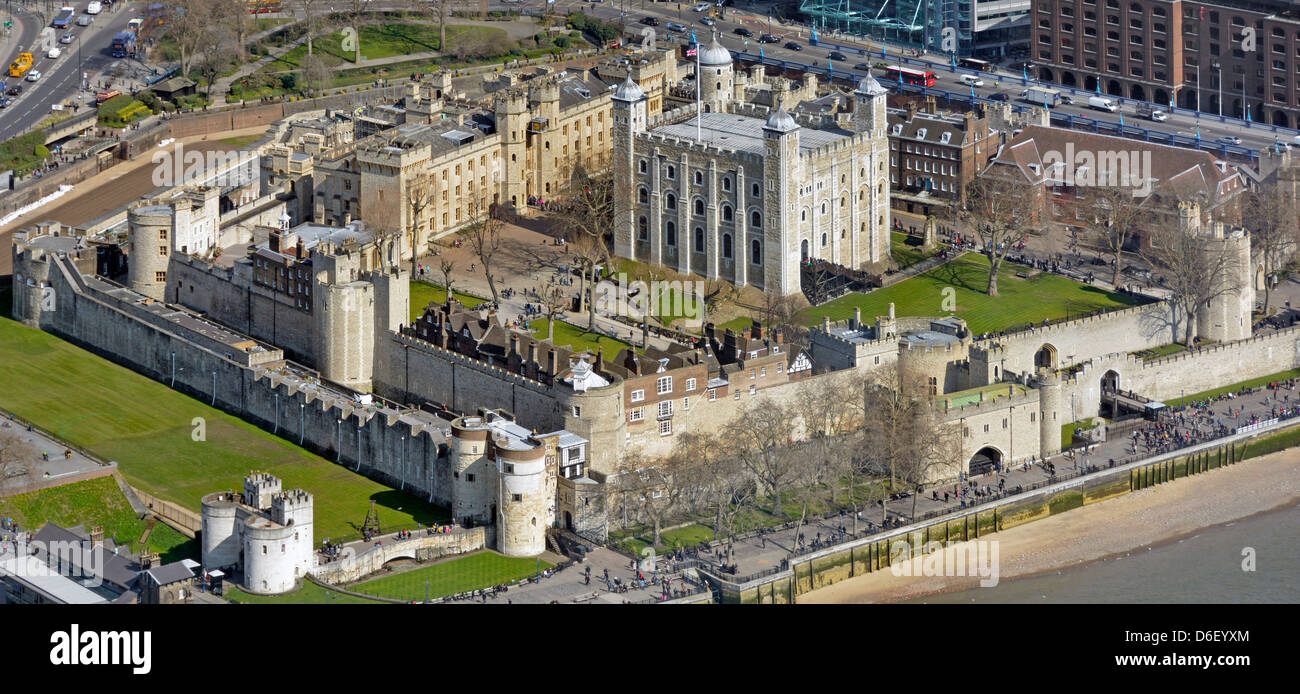 Tower Of London And The White Tower Aerial View Stock