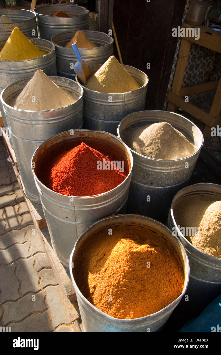 Variety of spices in the Medina in Marrakesh, Morocco - Stock Image