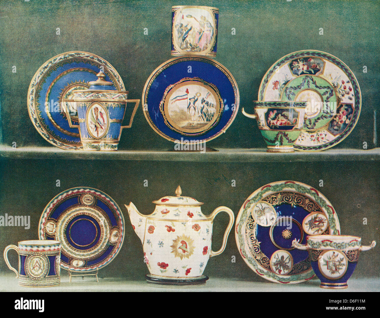 Sevres porcelain decorated with emblems of the French Revolution. - Stock Image