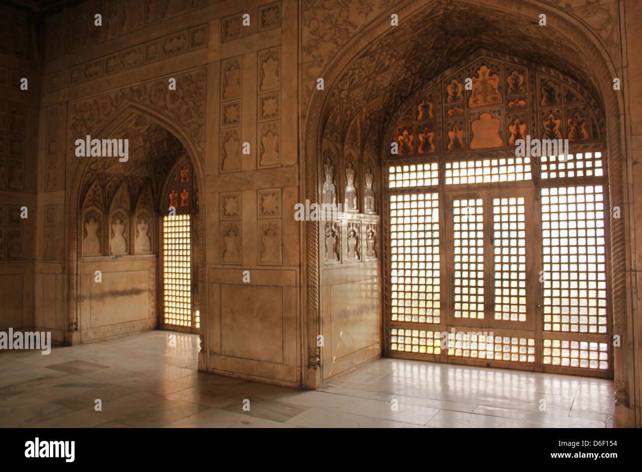 Highly ornate interiors of Agra Fort  UNESCO World Heritage site Agra, Uttar Pradesh, India - Stock Image