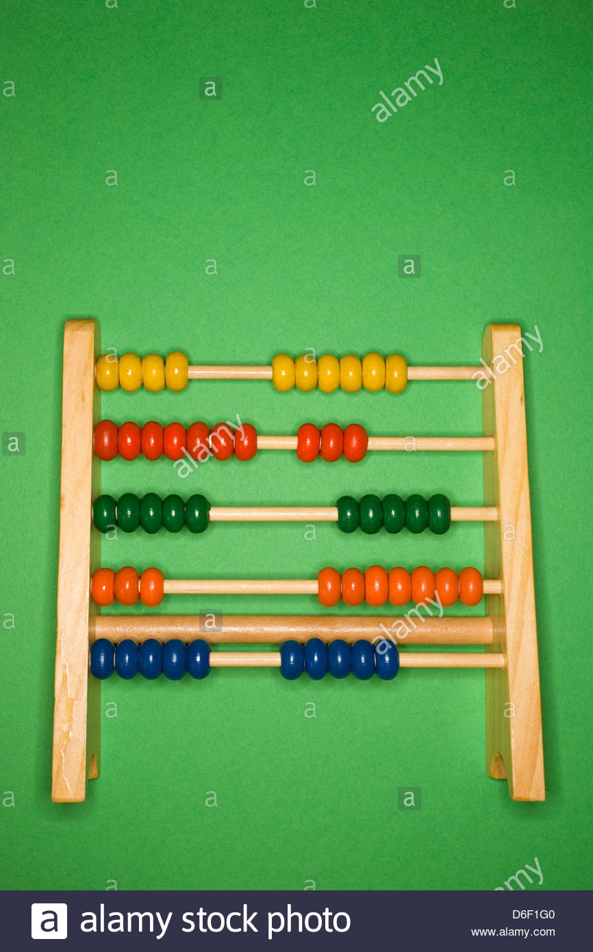 Abacus Childs addition counting calculation sums - Stock Image