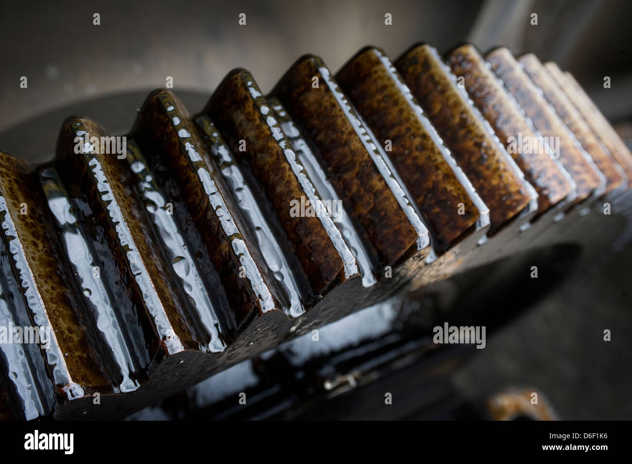 Close up of an oil covered industrial cog. - Stock Image