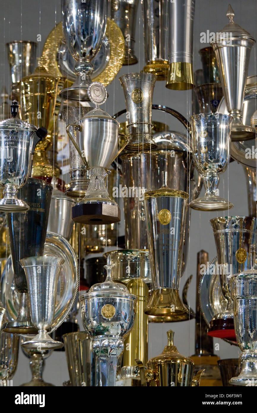 Berlin, Germany, Motorsport-cups in the Museum of Technology - Stock Image