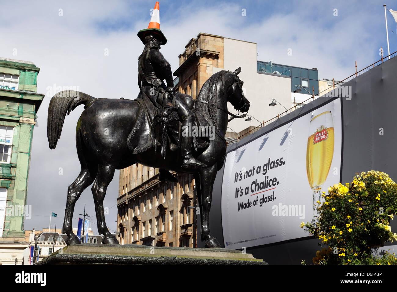 The statue of the Duke of Wellington, Glasgow city centre, Scotland, UK - Stock Image