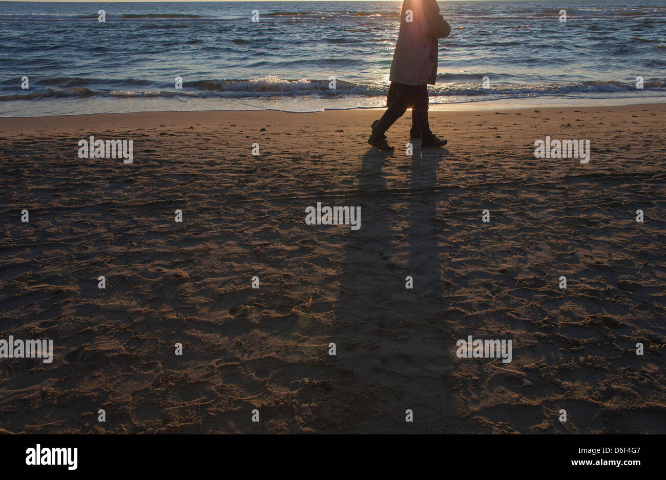 someone walks at sunset on the sea shore in the winter - Stock Image