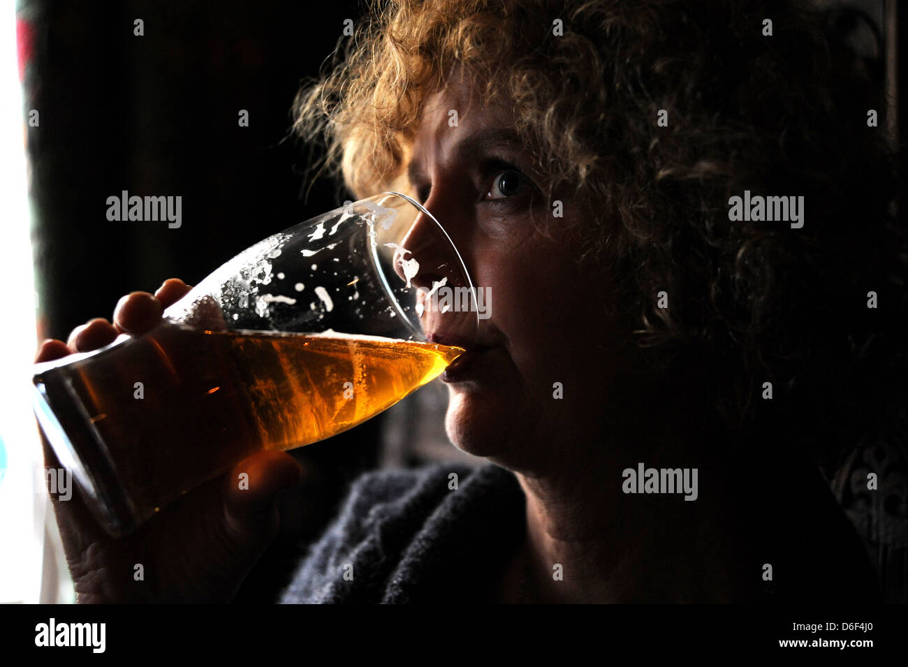 Woman drinking a pint of beer in a British pub UK - Stock Image