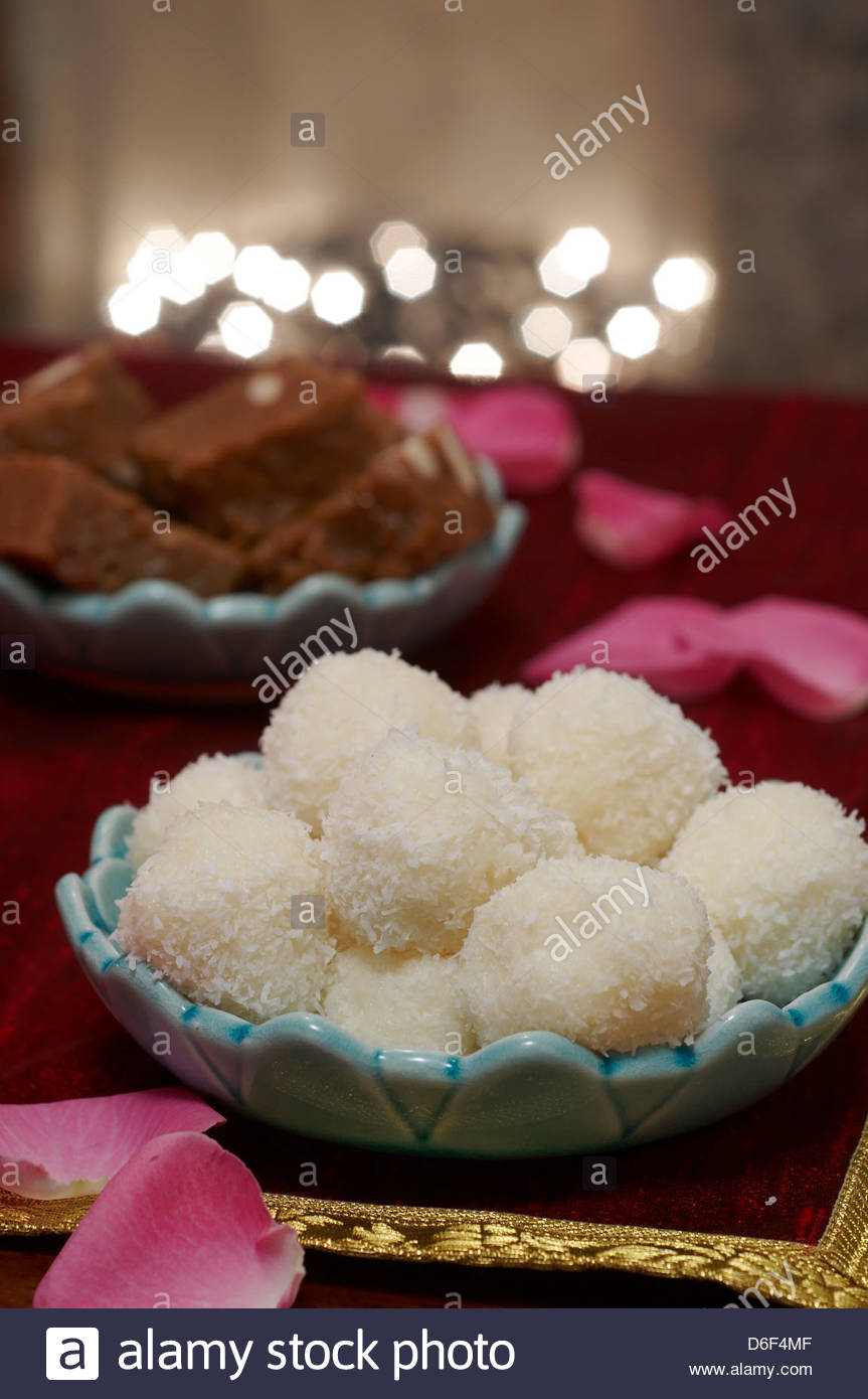 Indian Christmas coconut balls - Stock Image