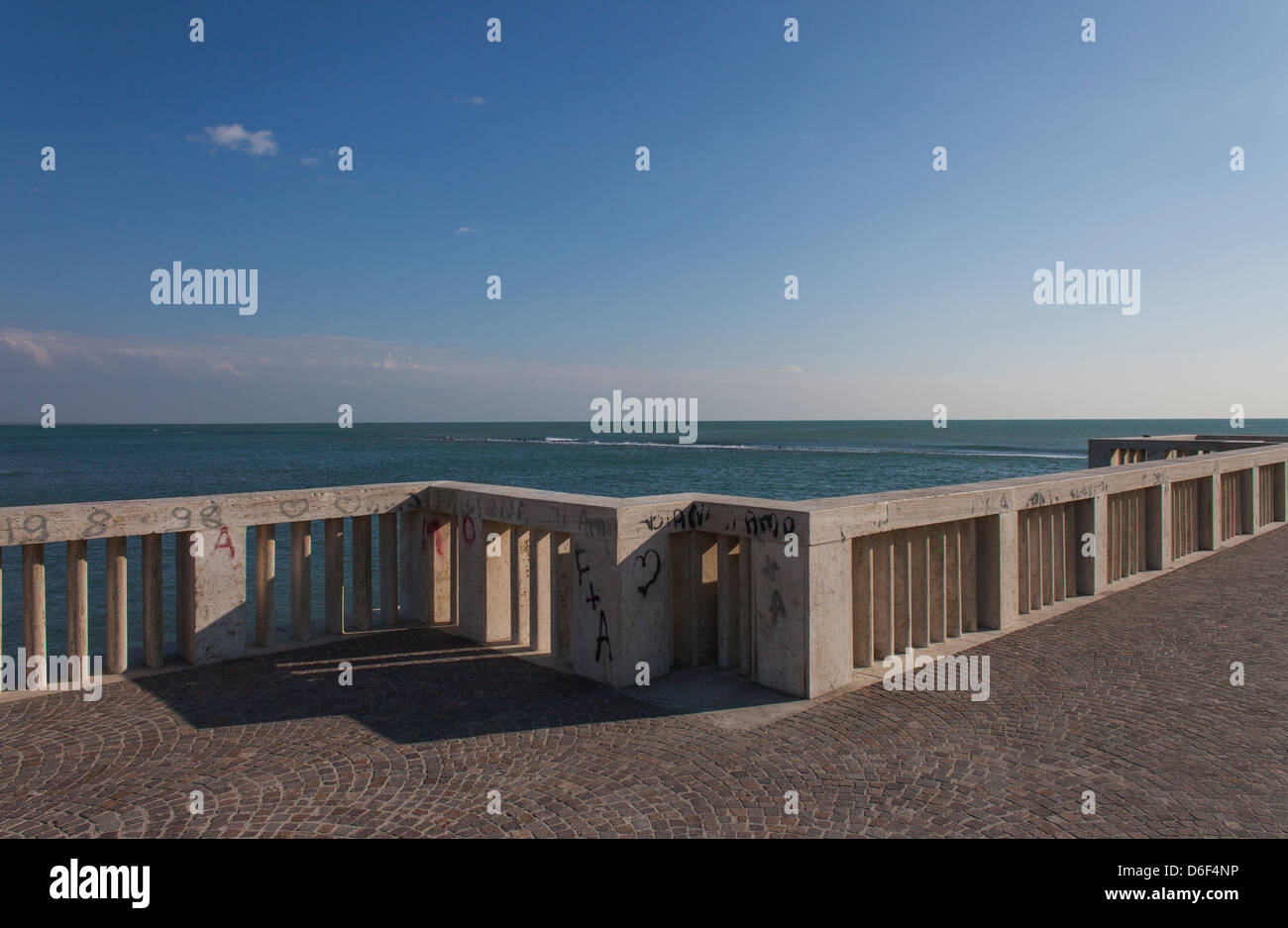 railing of the jetty on the sea at Ostia,Rome - Stock Image