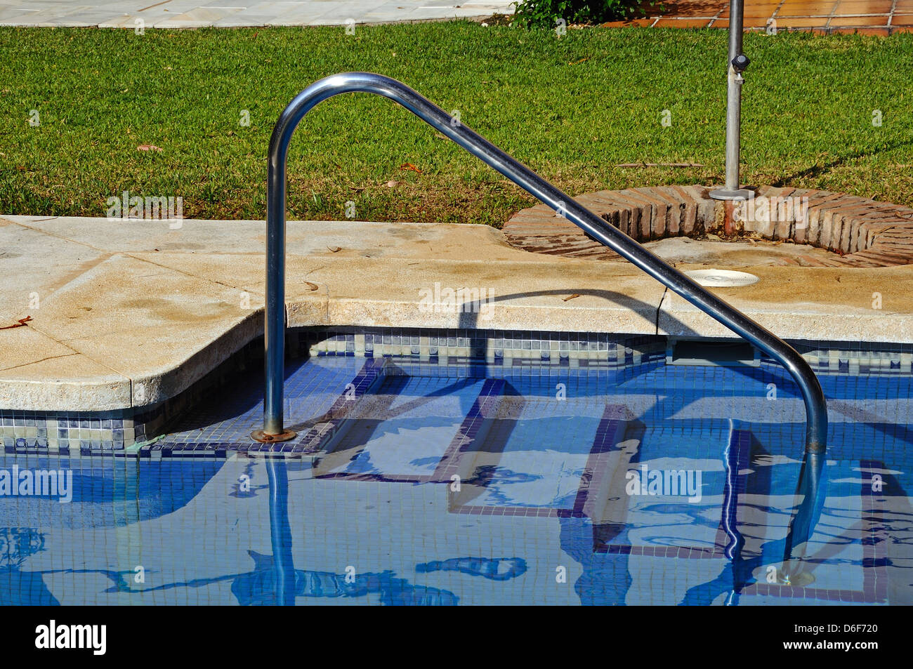 Swimming pool handrail and steps, Costa del Sol, Andalucia ...