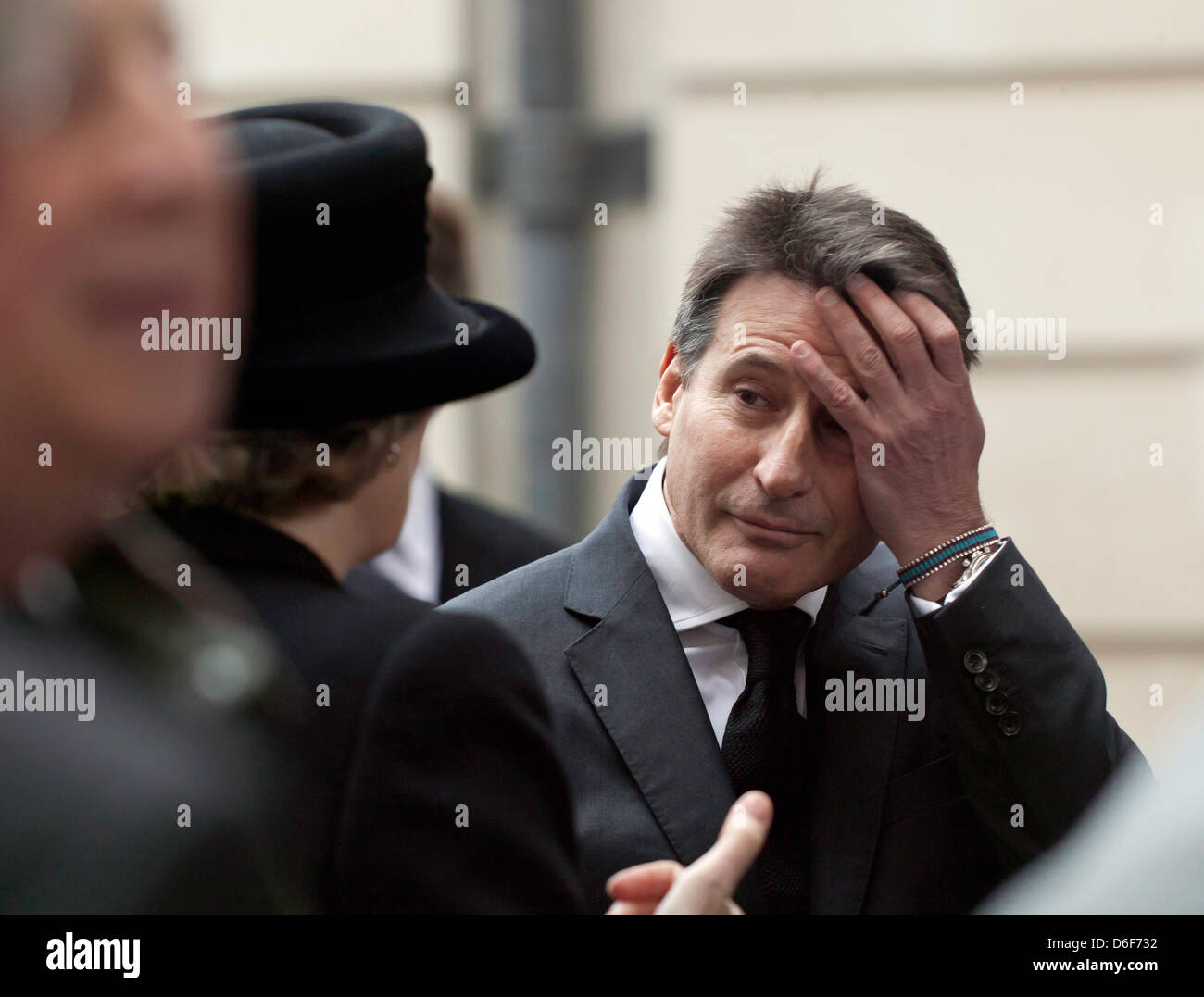 Lord Sebastian Coe waits to enter St Paul's Cathedral for Baroness Thatcher's funeral. - Stock Image