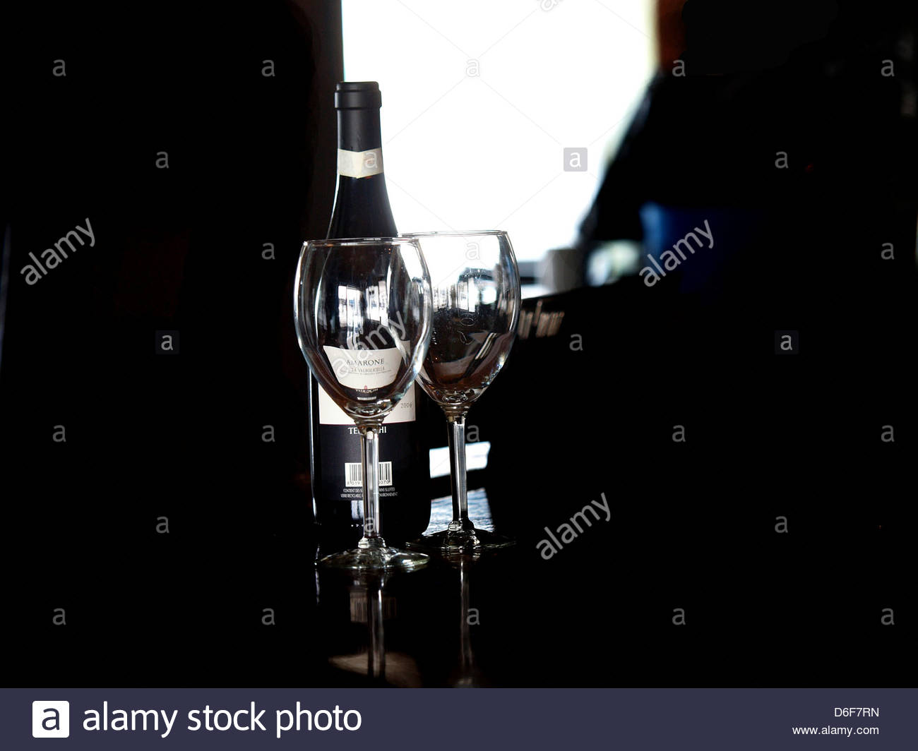 Bottle Italian red wine - Amarone - Stock Image