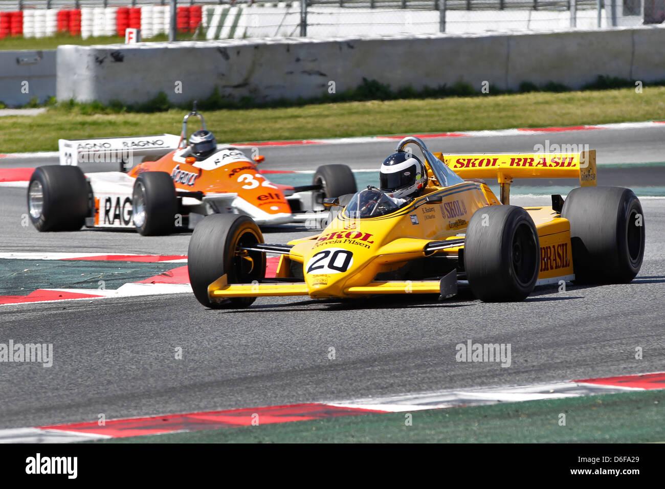 FIA Masters Historic Formula One race at Montmelo 12th April 2013 - Jean-Michel Martin in 1980 Fittipaldi F8 - Stock Image