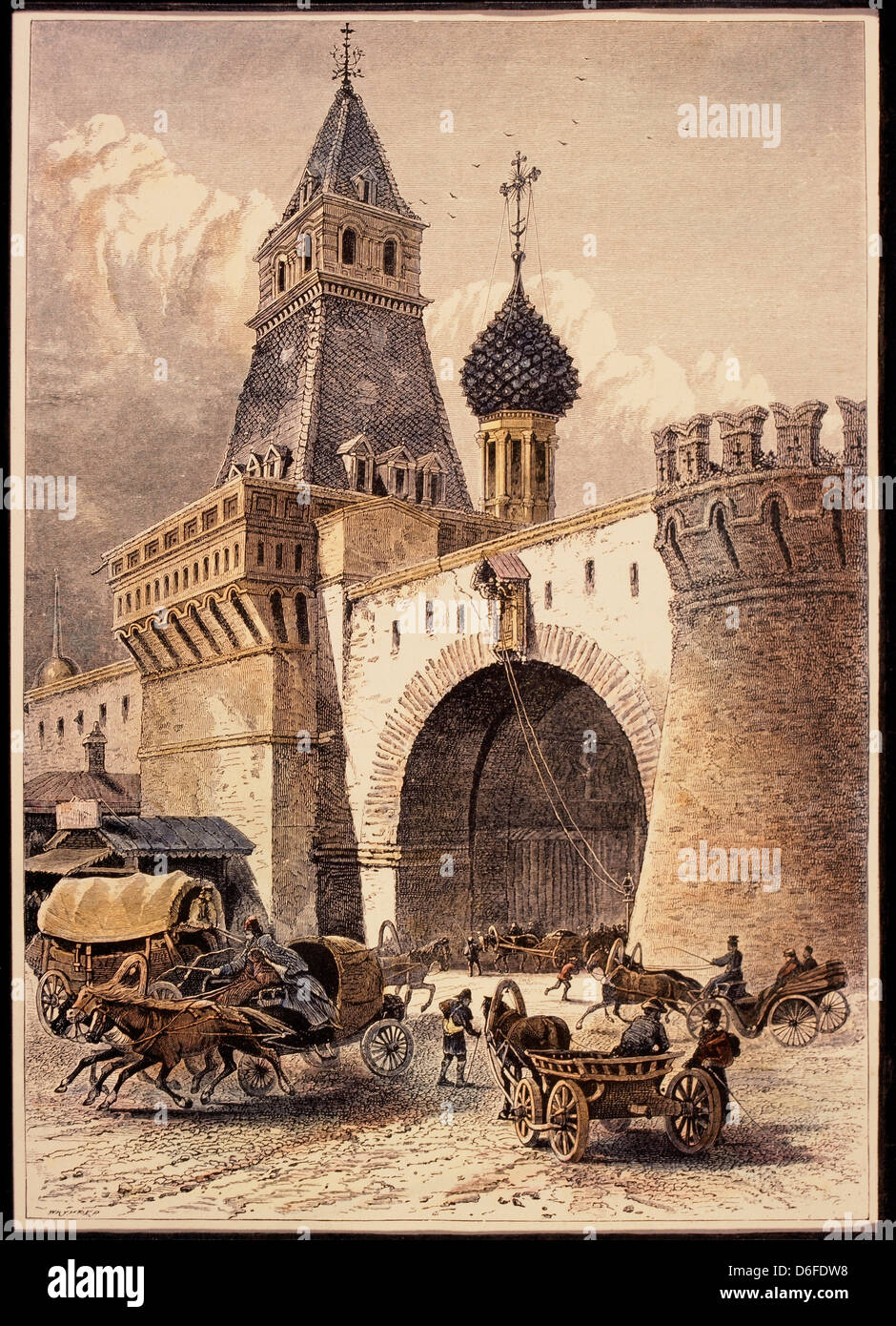 Nikolsky Gate, Moscow, Hand-Colored Engraving Circa 1875 - Stock Image