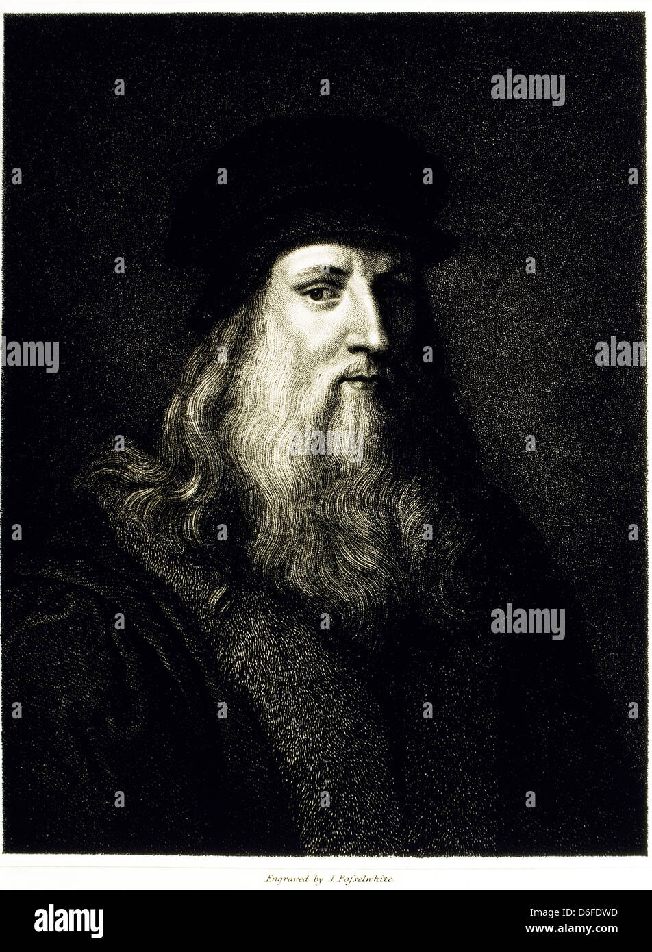 Leonardo da Vinci (1452-1519), Italian Painter, Sculptor, Architect, Engineer & Scientist, Portrait - Stock Image
