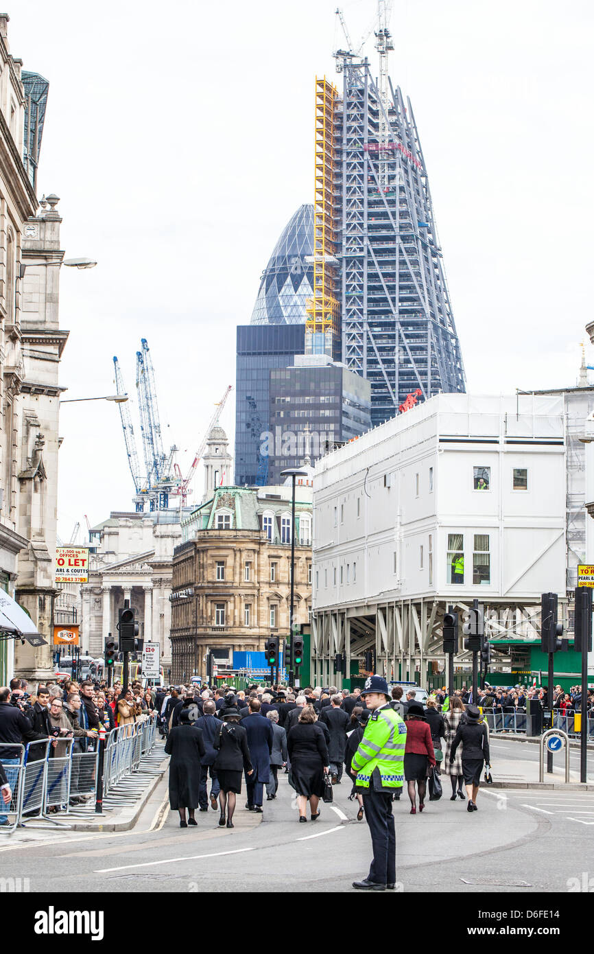 Crowd on Cannon Street for the Funeral of Margaret Thatcher, London, England, UK - Stock Image