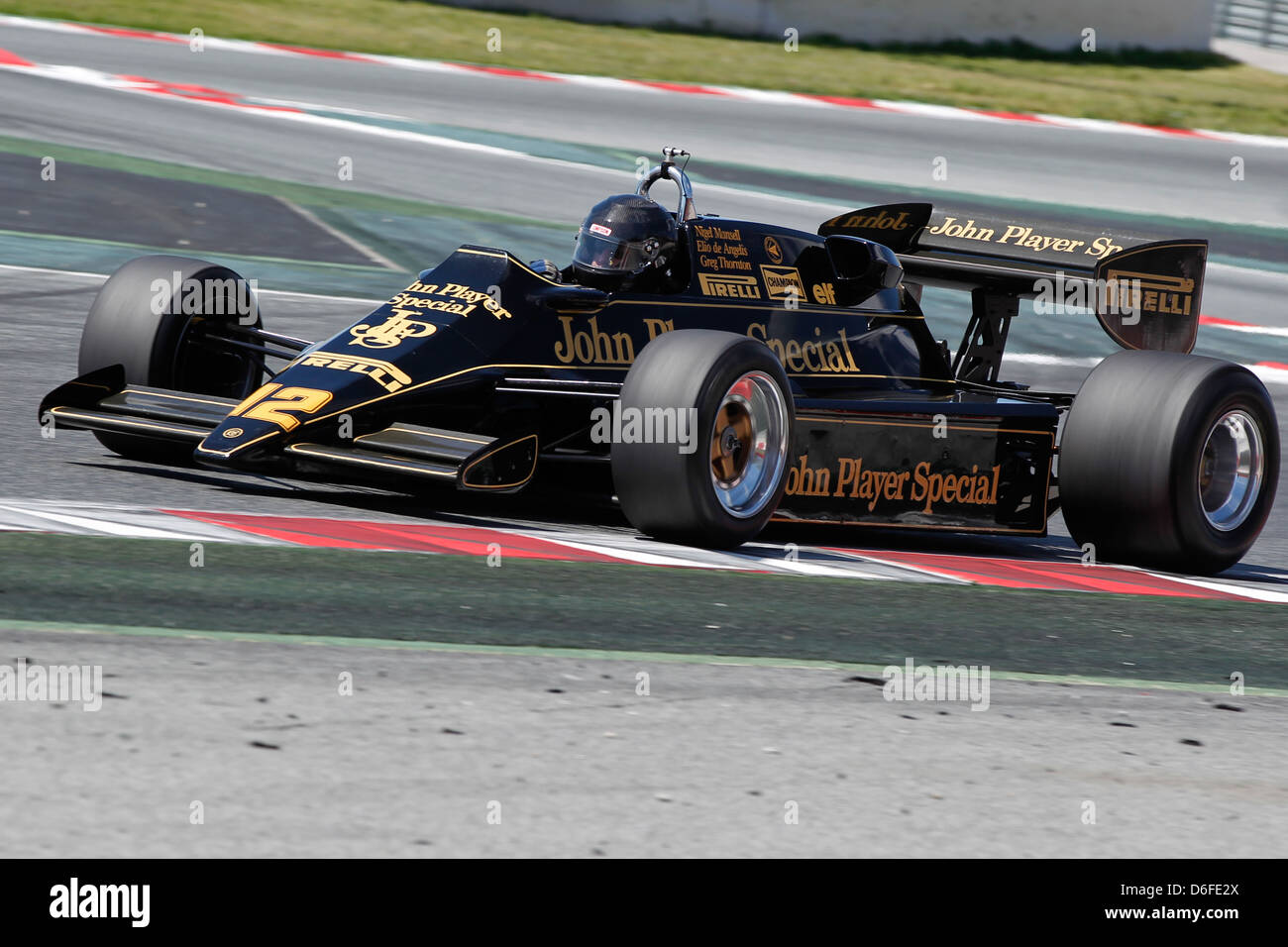 FIA Masters Historic Formula One race at Montmelo 12th April 2013 - Greg Thornton in a Lotus 92/5 - Stock Image