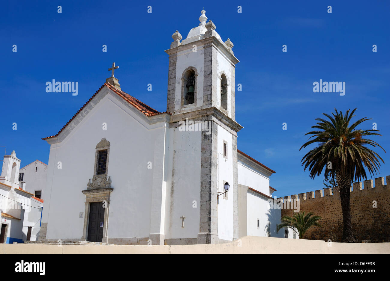The parish church where Vasco da Gama was christened. Vasco da Gama was born in the Sines town's castle in 1469. - Stock Image