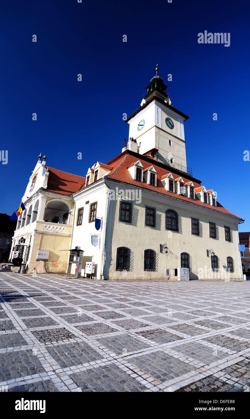 The center of Brasov is Council Square. Transylvania, Romania. - Stock Image