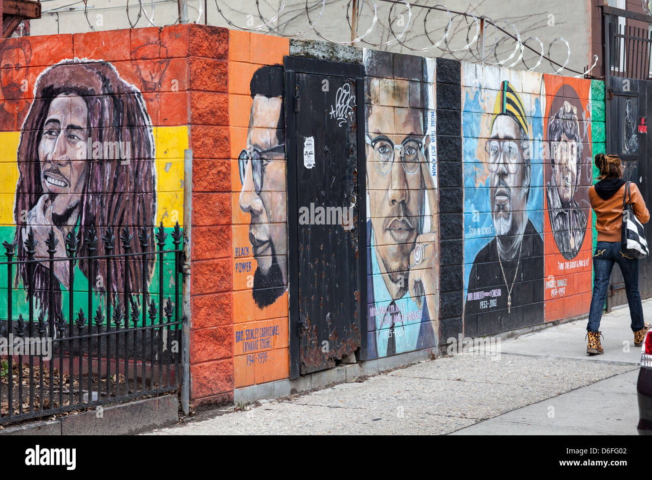 Mural honors African-American role models, Bedford-Stuyvesant, Brooklyn, New York City Stock Photo