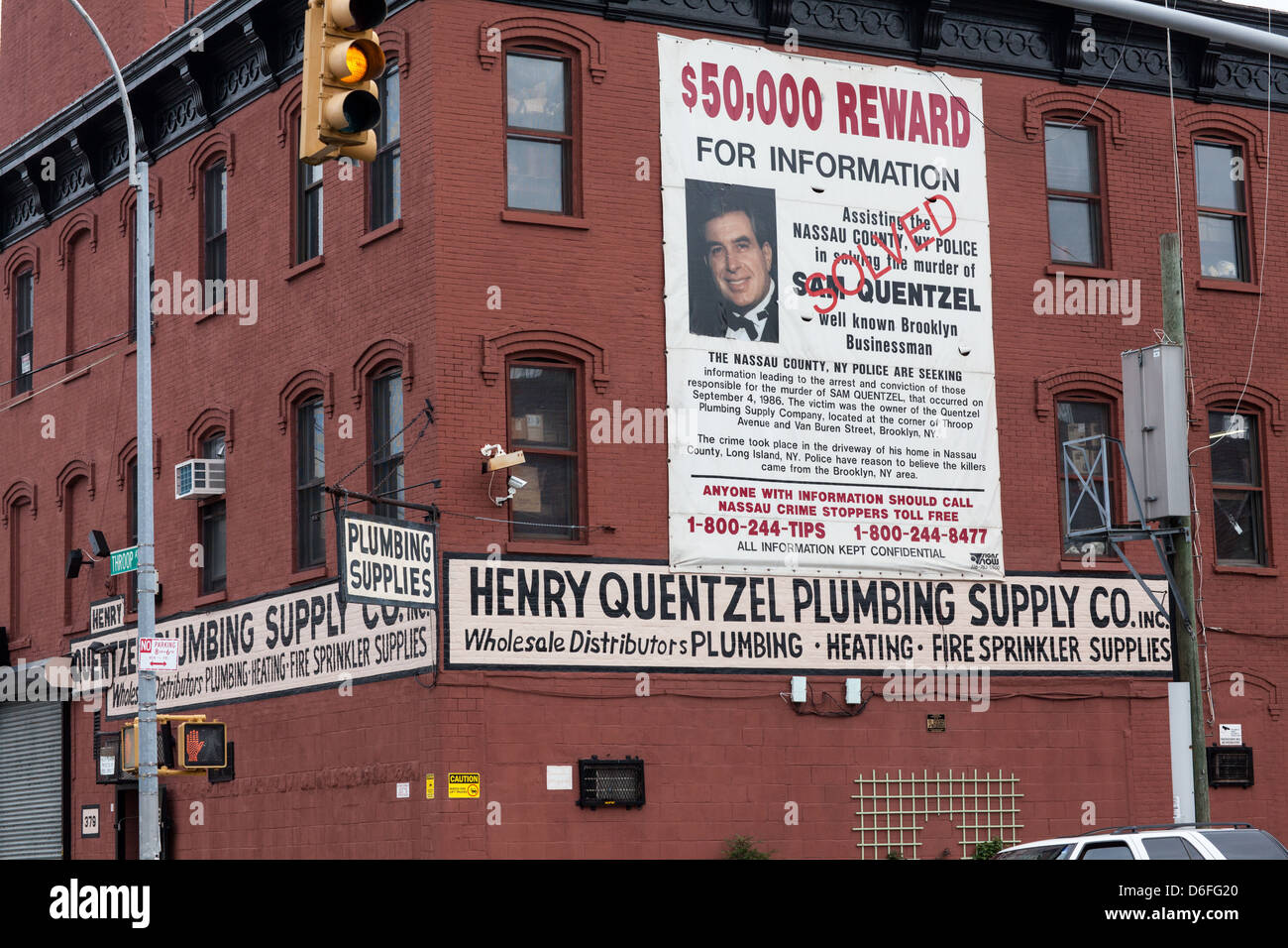 A solved murder, Brooklyn, New York City - Stock Image