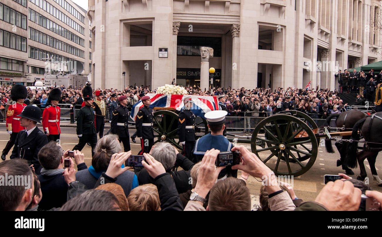 London, UK, 17 Apr. 2013.  Funeral service of Baroness Thatcher takes place at St. Paul's cathedral.  Thousands Stock Photo