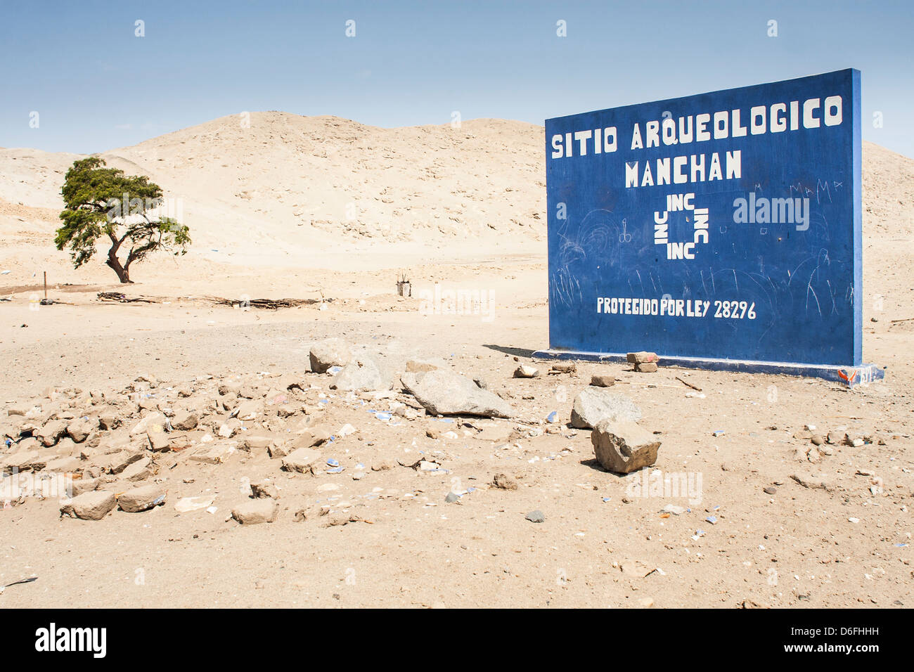 Manchan archaeological site in northern Peruvian desert. - Stock Image