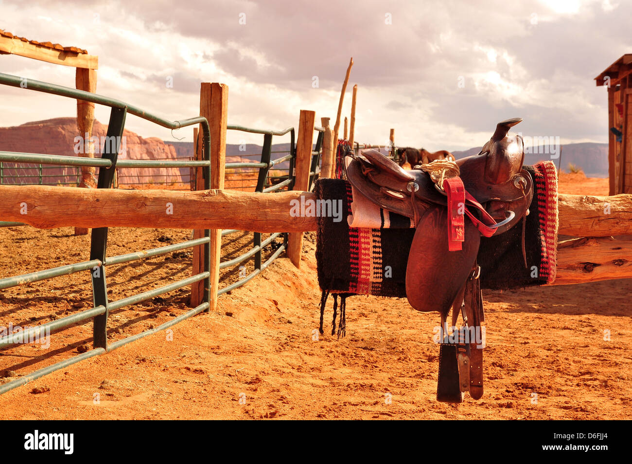 Saddle Navajo in reserve - Stock Image