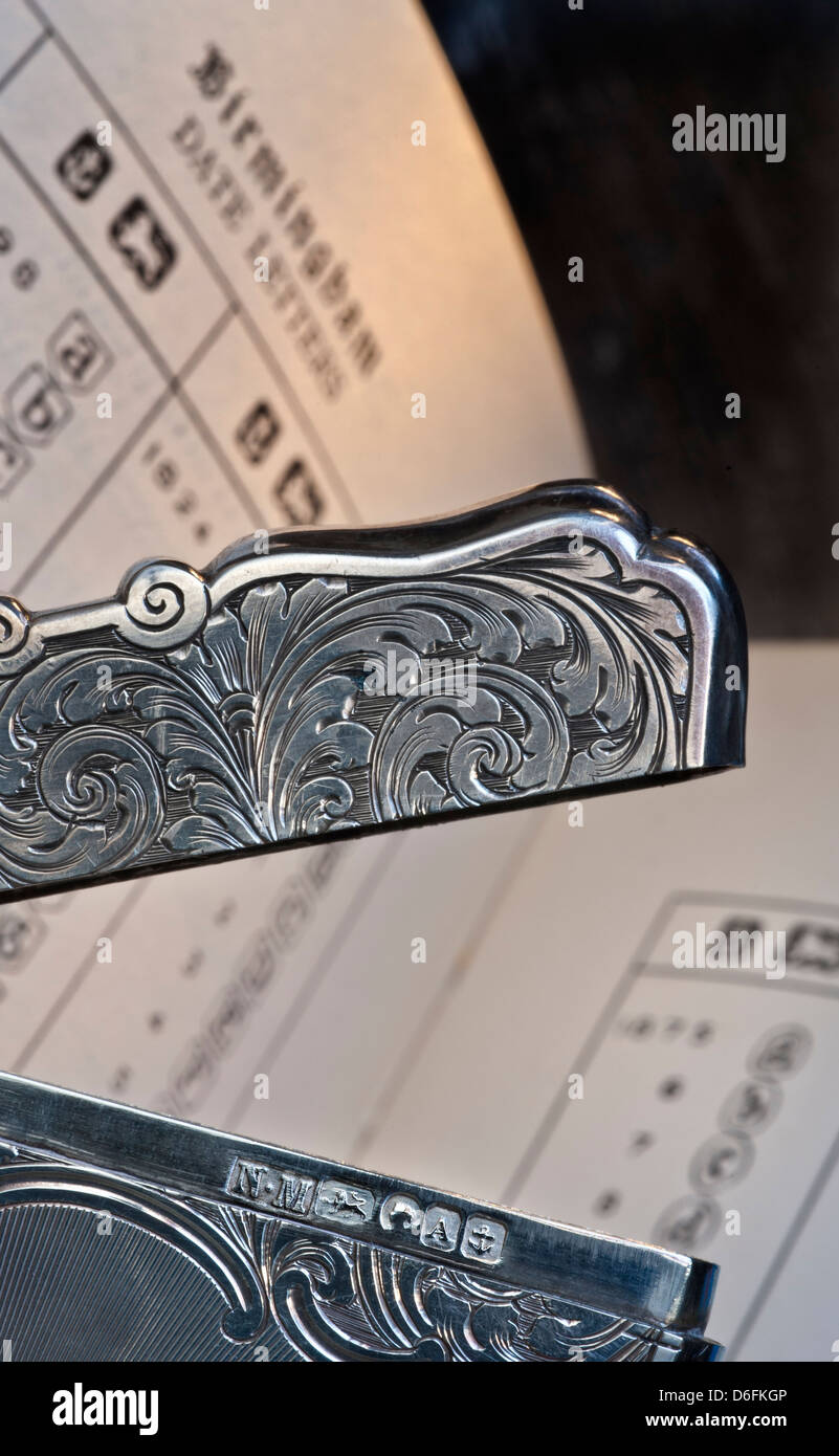Close view on fine silver card case by 19th century  Birmingham silver maker Nathaniel Mills with silver hallmarks - Stock Image
