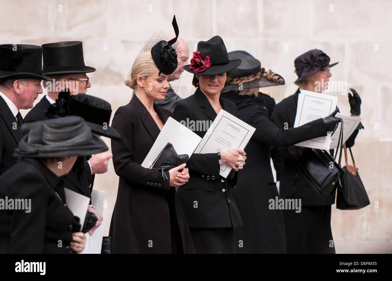 London, UK, 17 Apr. 2013.  Singer, Katherine Jenkins, is amongst the mourners as they leave the funeral service Stock Photo