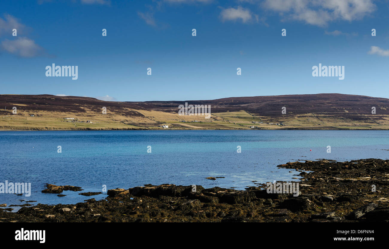 Looking over Eynhallow Sound towards the island of Rousay. Orkney - Stock Image