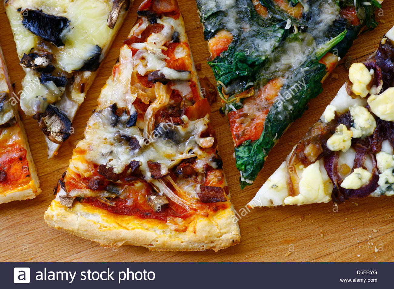 Gluten free selection pizza slices - Stock Image