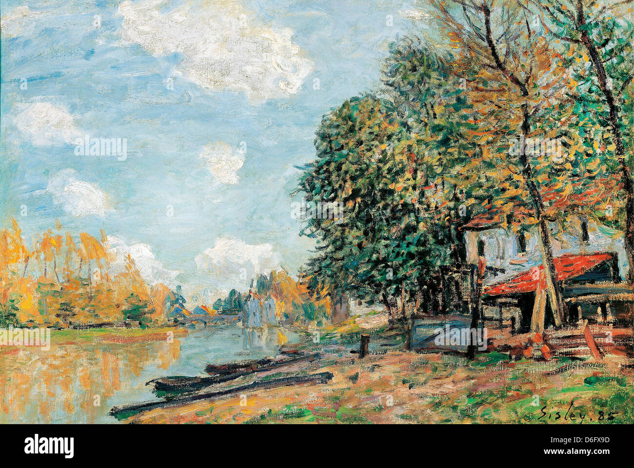 Alfred Sisley, Moret: The Banks of the River Loing, 1877 Oil on canvas. Albertina, Vienna, Austria - Stock Image