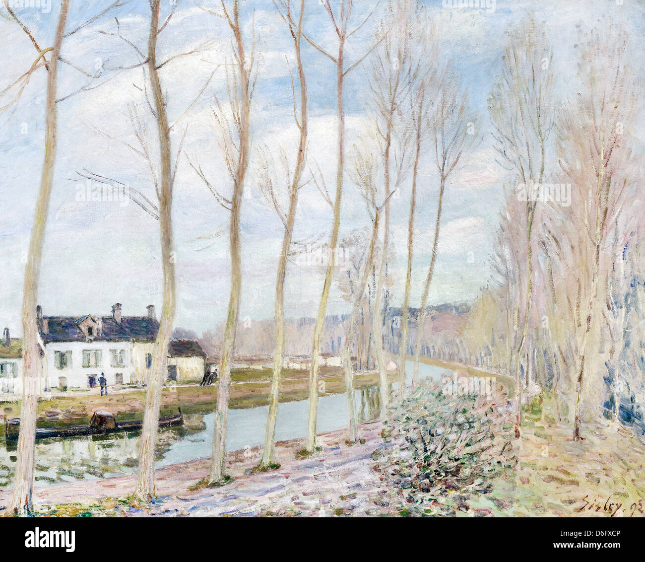 Alfred Sisley, The Loing's Canal 1892 Oil on canvas. Musée d'Orsay, Paris - Stock Image