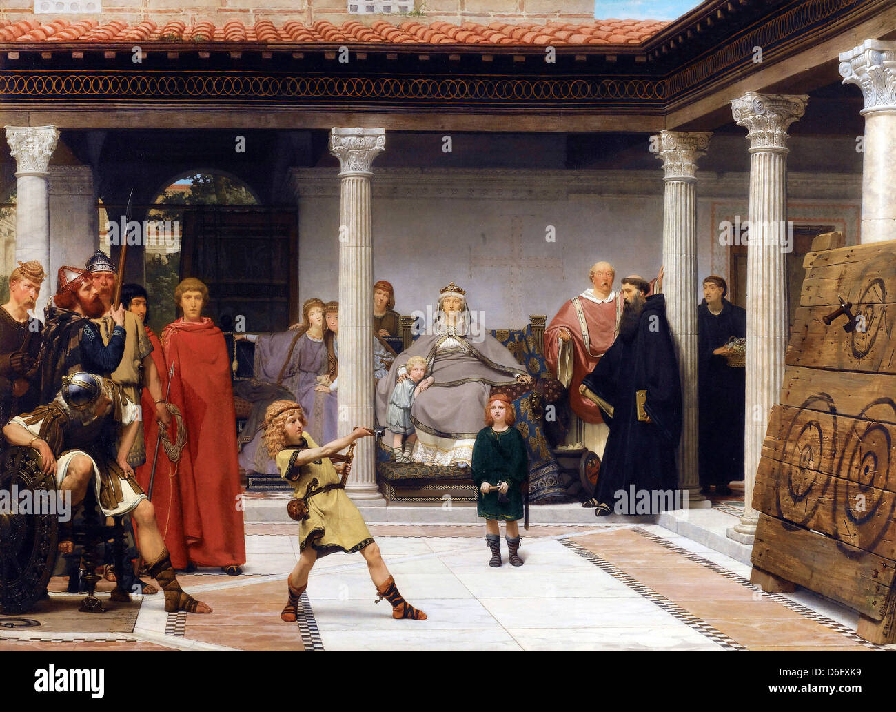 Sir Lawrence Alma-Tadema, The Education of the Children of Clovis 1861 Oil on canvas. - Stock Image
