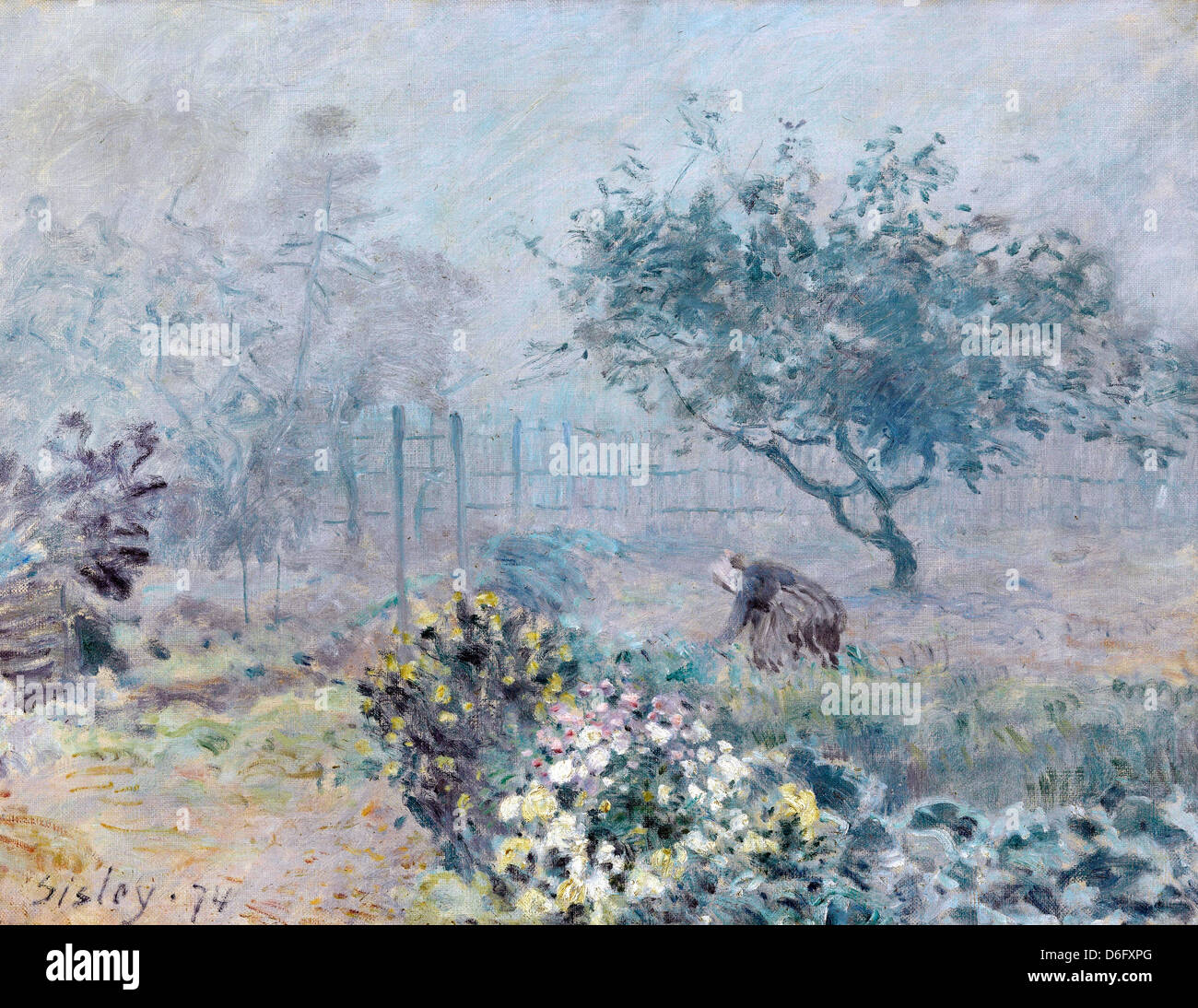 Alfred Sisley, Fog, Voisins 1874 Oil on canvas. Musée d'Orsay, Paris - Stock Image