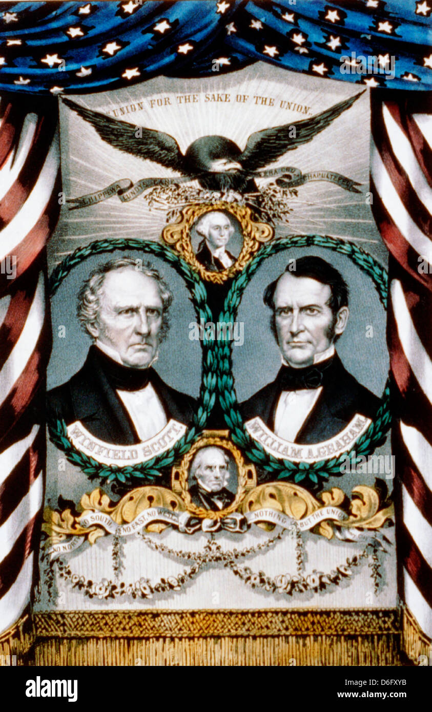 1852 Presidential Election Poster for the Whig Part featuring General Winfield Scott for President and William Graham - Stock Image