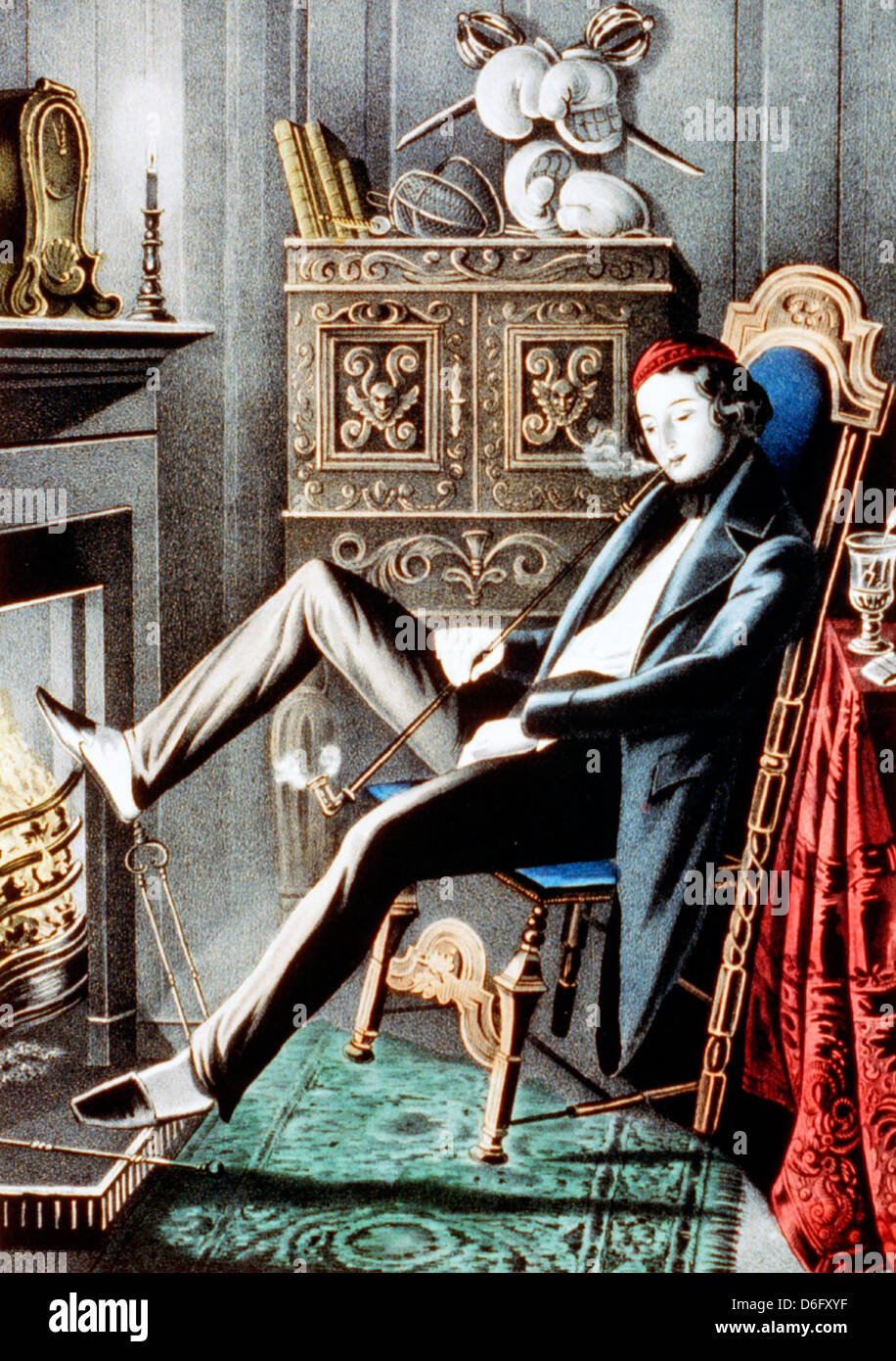 Hand colored lithograph showing a single man smoking a pipe - Stock Image
