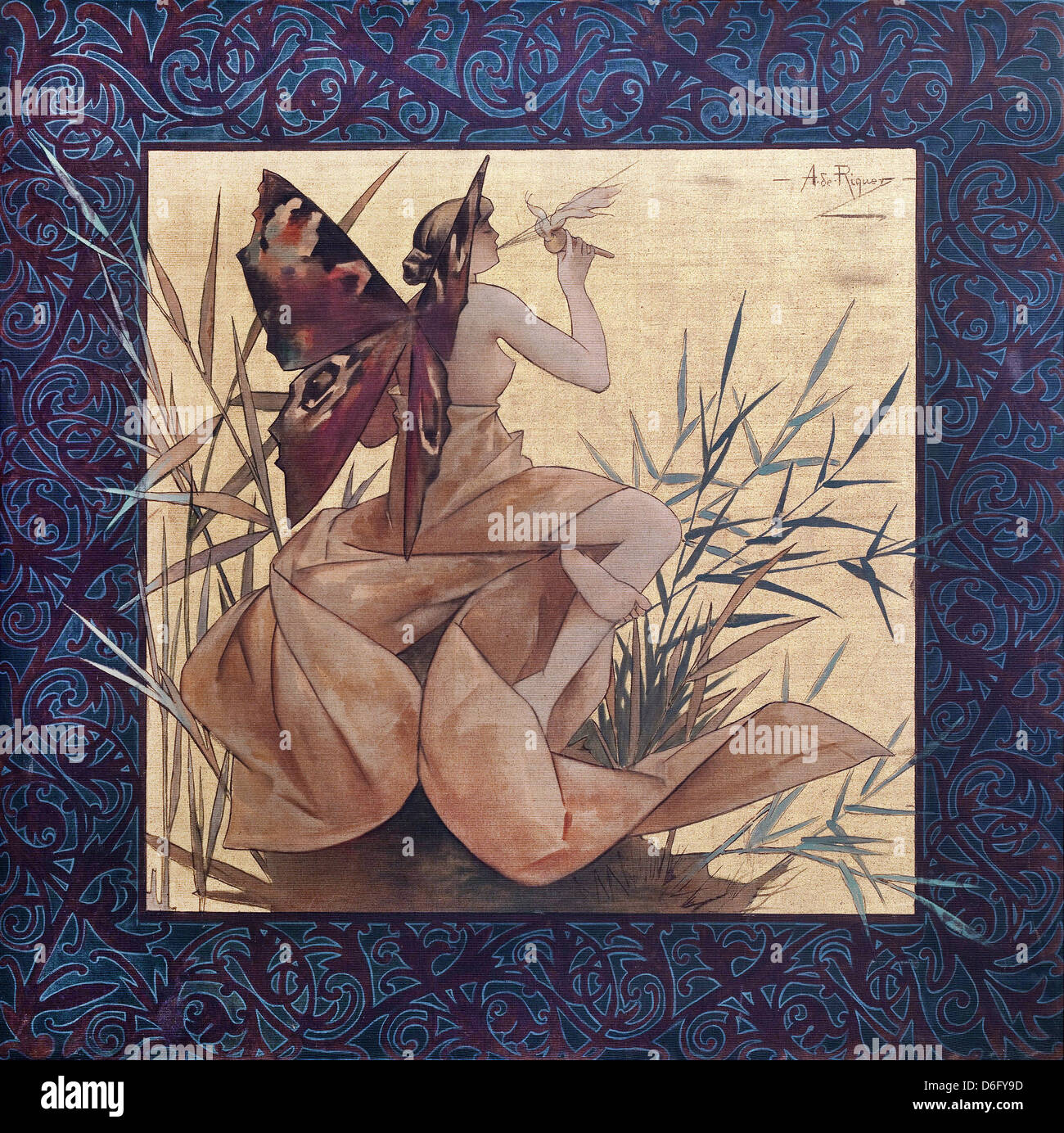 Alexandre de Riquer, Composition with winged nymph blowing amongst reeds 1887 Tempera on canvas. - Stock Image