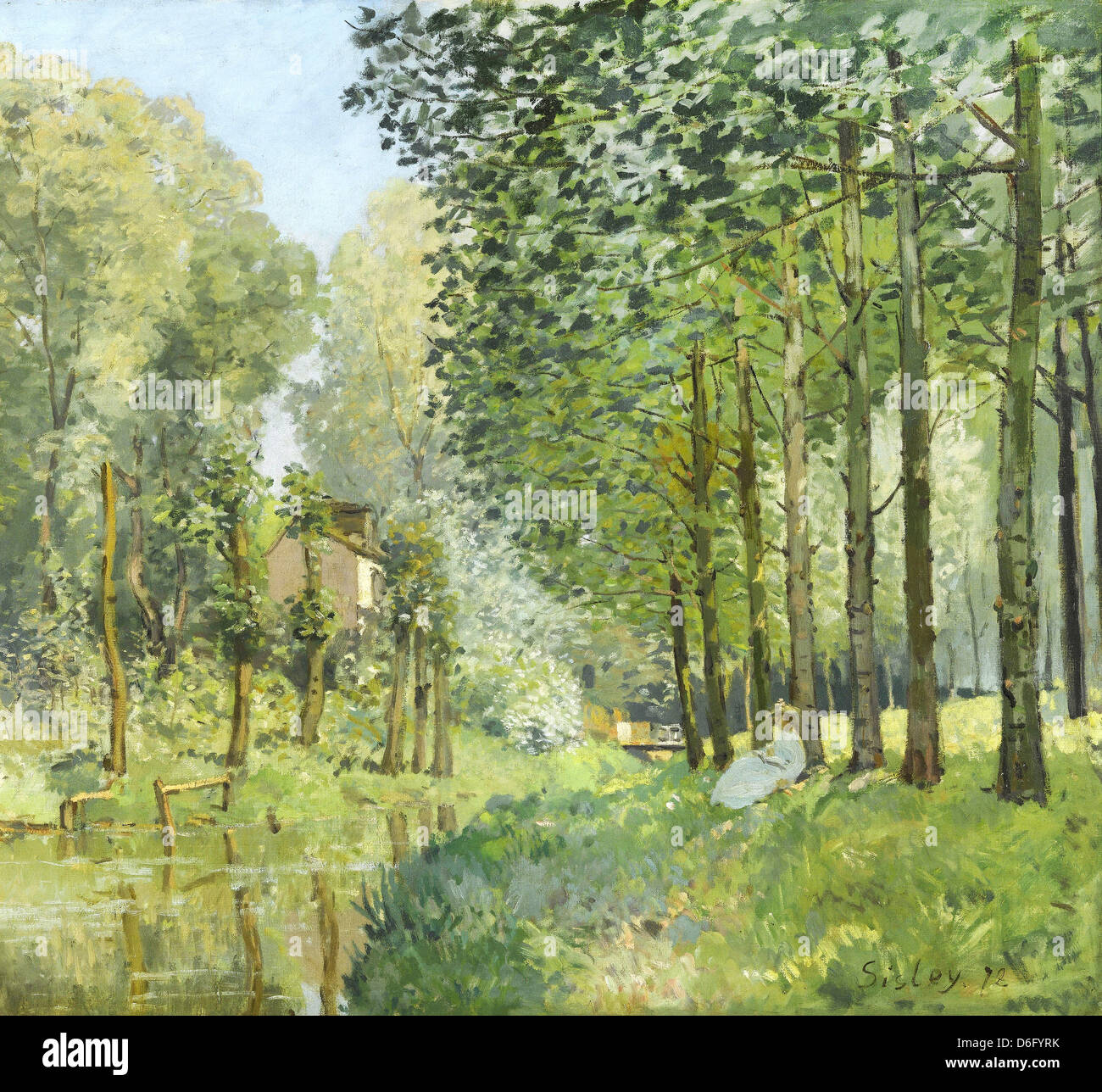 Alfred Sisley, Rest along the Stream. Edge of the Wood 1878 Oil on canvas. Musée d'Orsay, Paris - Stock Image