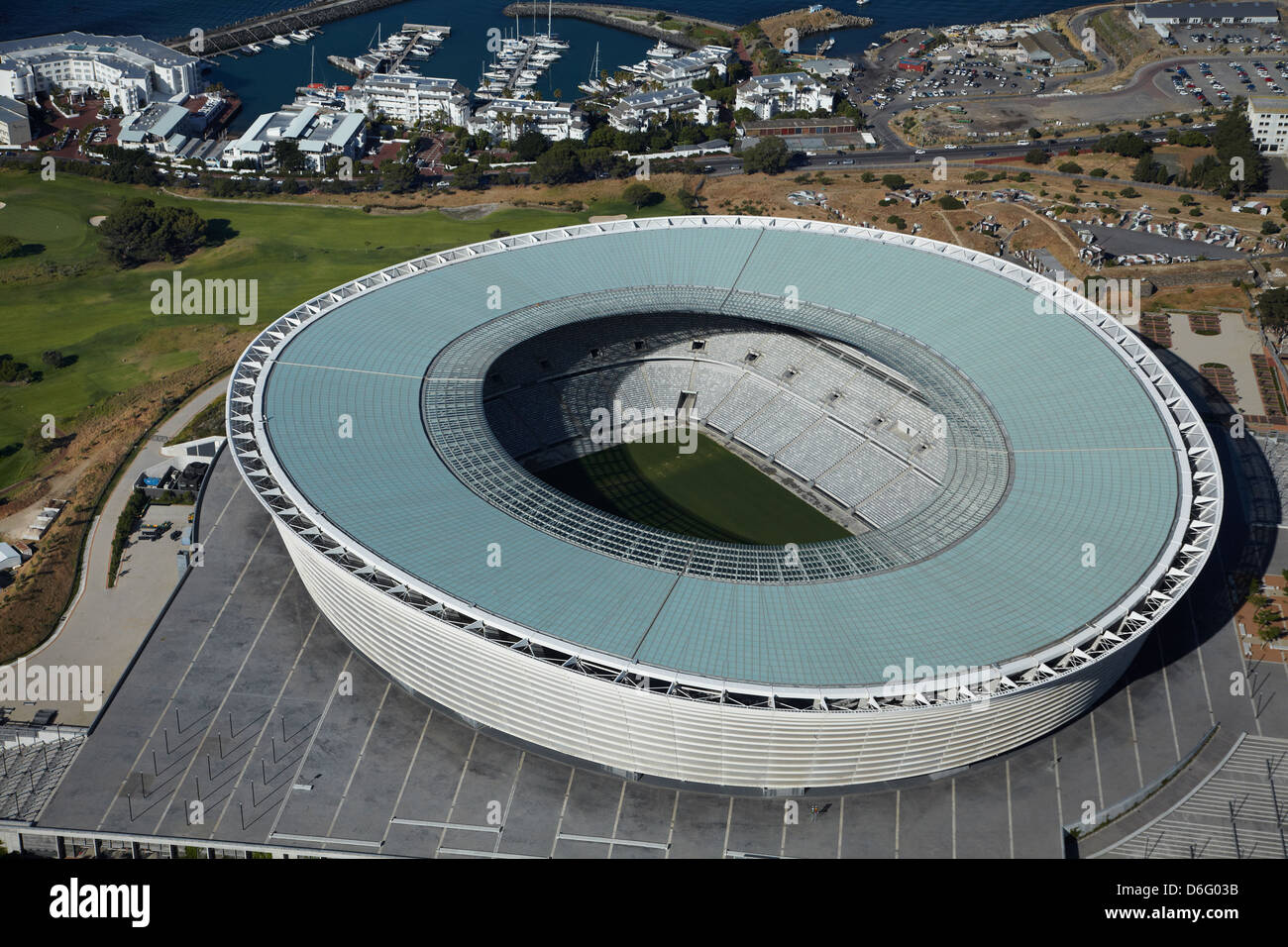 Cape Town Stadium, Cape Town, South Africa - aerial - Stock Image