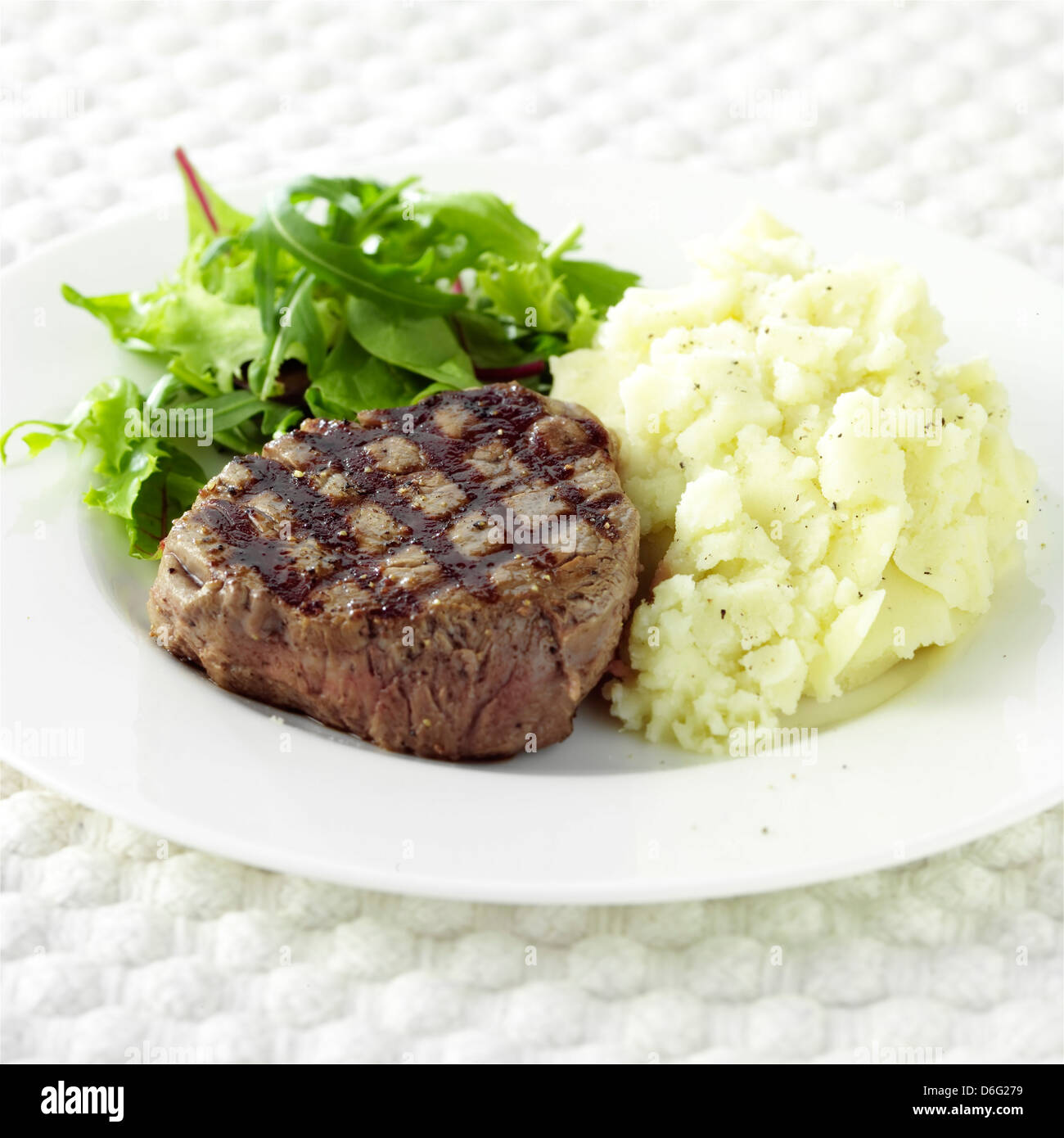 Fillet Steak and Mashed Potato - Stock Image