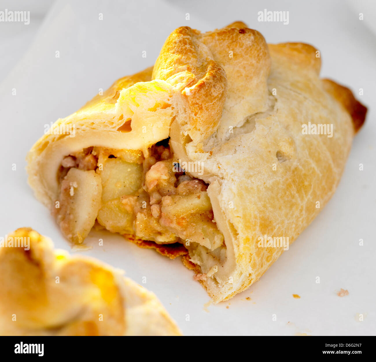 Cornish pastie pasty cut - Stock Image
